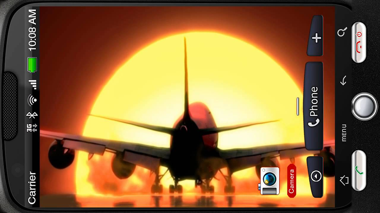 Airplane Sunset Landing Deluxe Hd Edition 3d Live Wallpaper For