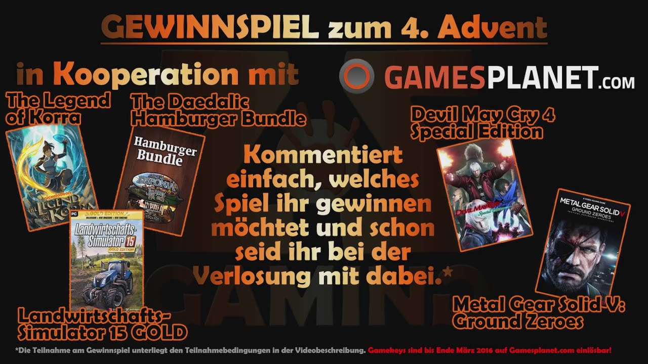 zos gaming gewinnspiel zum 4 advent gamekey verlosung pc beendet youtube. Black Bedroom Furniture Sets. Home Design Ideas