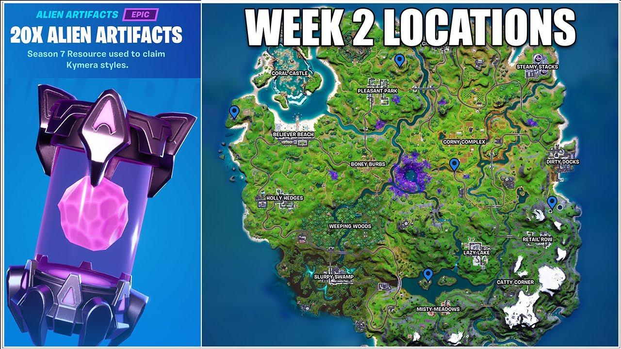 Fortnite, All Week 2 Alien Artifact Locations (Chapter 2 Season 7)