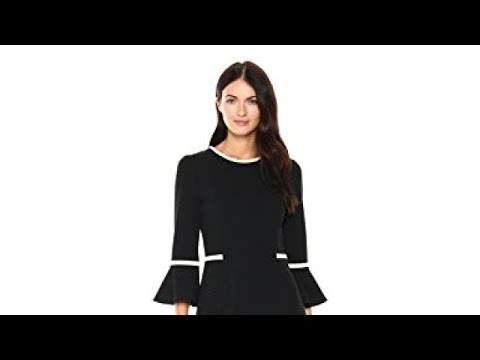 Calvin Klein Womens Bell Sleeve Dress With Contrast Piping Youtube