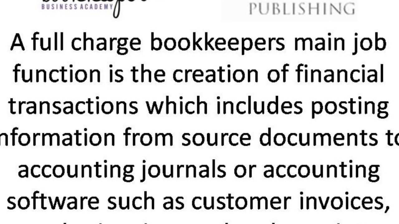Bookkeeping Jobs and Duties - YouTube
