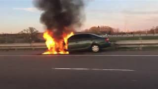 car on fire - car accident
