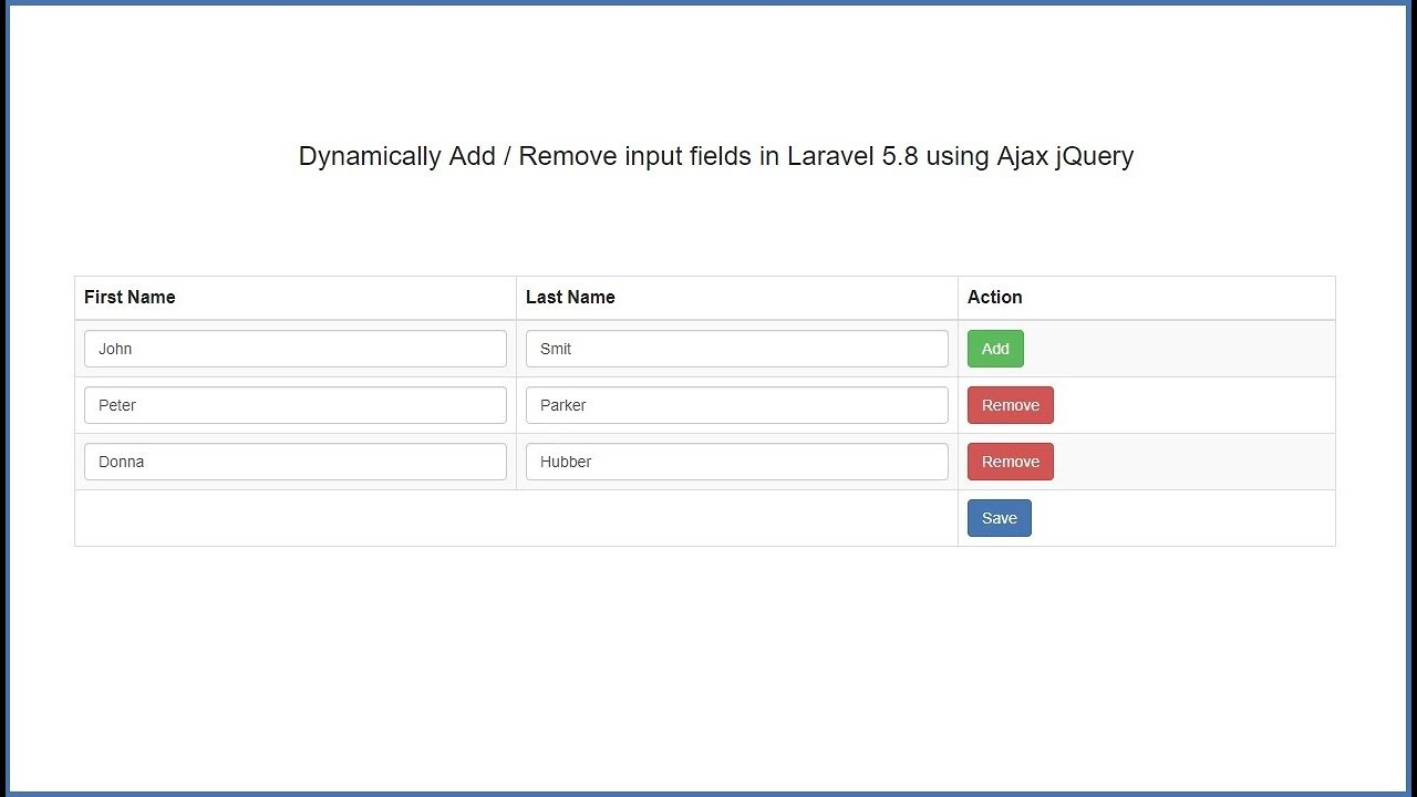 Dynamically Add / Remove input fields in Laravel 5 8 using