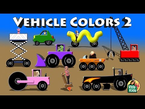 Vehicle Colors 2 - Crane ATV Grader Road Roller Scissor Lift Limo Electric Car