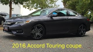 New 2016 Honda Accord Touring coupe walk around, Just released. LED lights, 19 inch wheels