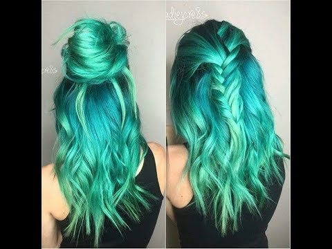 Blue And Green Hair Dye Mixed