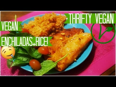 Vegan Mexican Rice & Red Enchiladas
