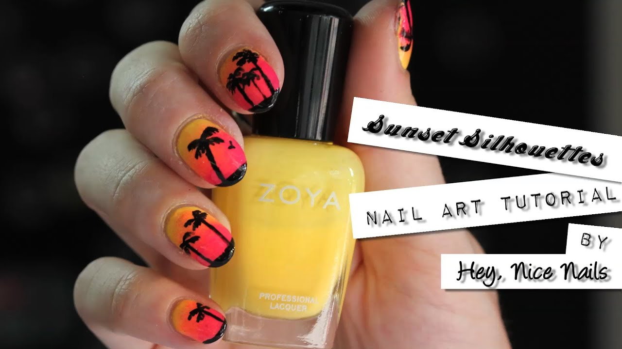 NAILgasmTV: Sunset Silhouettes (gradient nails tutorial) w/Hey, Nice ...
