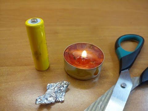Как зажечь свечу без спичек