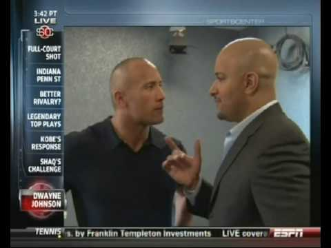"""Dwayne """"The Rock"""" Johnson and Jonathan Coachman share a moment on ESPN"""