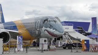 Shark Face Aircraft Steep Takeoff Embraer E190-E2  Walk around cockpit and cabin interior