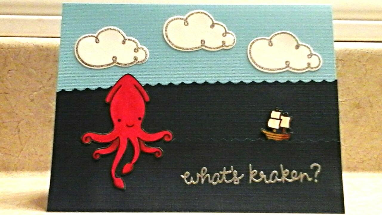 diy birthday card  lawn fawn kraken from lovable legands
