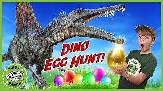 Dinosaurs & Egg Hunt! Giant Dinosaur Nerf Battle & Gold Mystery Egg Surprise Toys for Kids