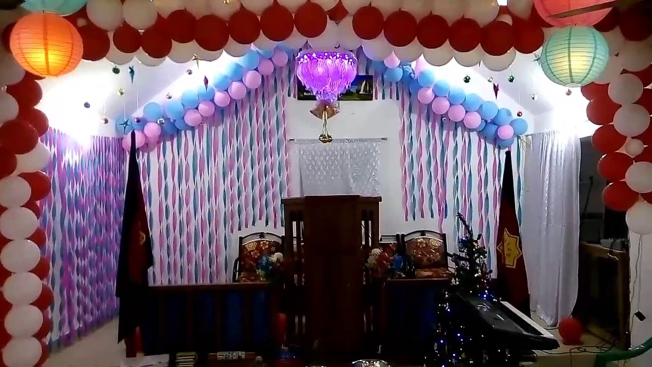 Church Decoration Using Papers And Balloons