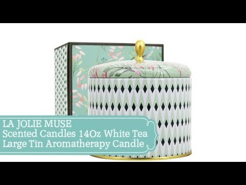 LA JOLIE MUSE Scented Candles 14Oz White Tea Large Tin Aromatherapy Candle