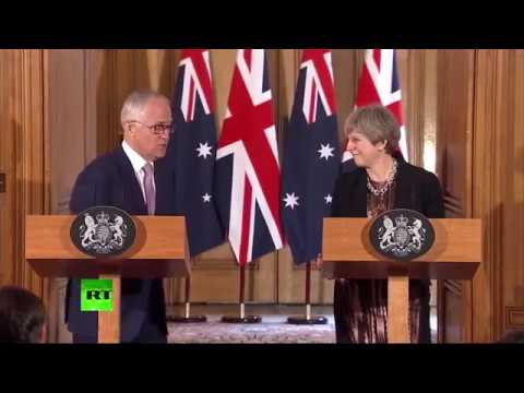 May & Turnbull talk terrorism & cricket at joint press conference