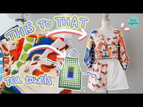 I transformed Vintage Tea Towels into clothes ✨(Patchwork Co-Ord Wrap Top, Shorts, Apron) - YouTube