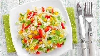 Салат из пекинской капусты с овощами и кукурузой