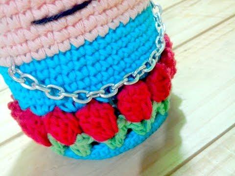 DIY: Frida Kahlo viste tu Frasco - Como hacer funda de frasco tejido a crochet #Frascos #Tejidos