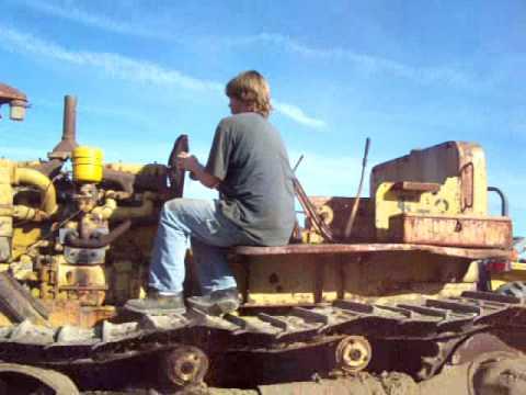 Starting caterpillar d8 tractor bulldozer