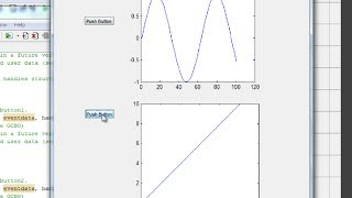 MATLAB tutorial : create a GUI with 2 plots (axes) and 2 pushbuttons