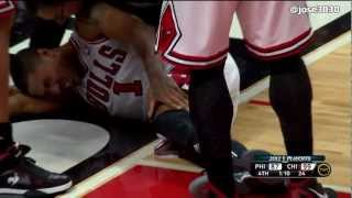 Derrick Rose Torn ACL Injury vs Philadelphia 76ers (HD)
