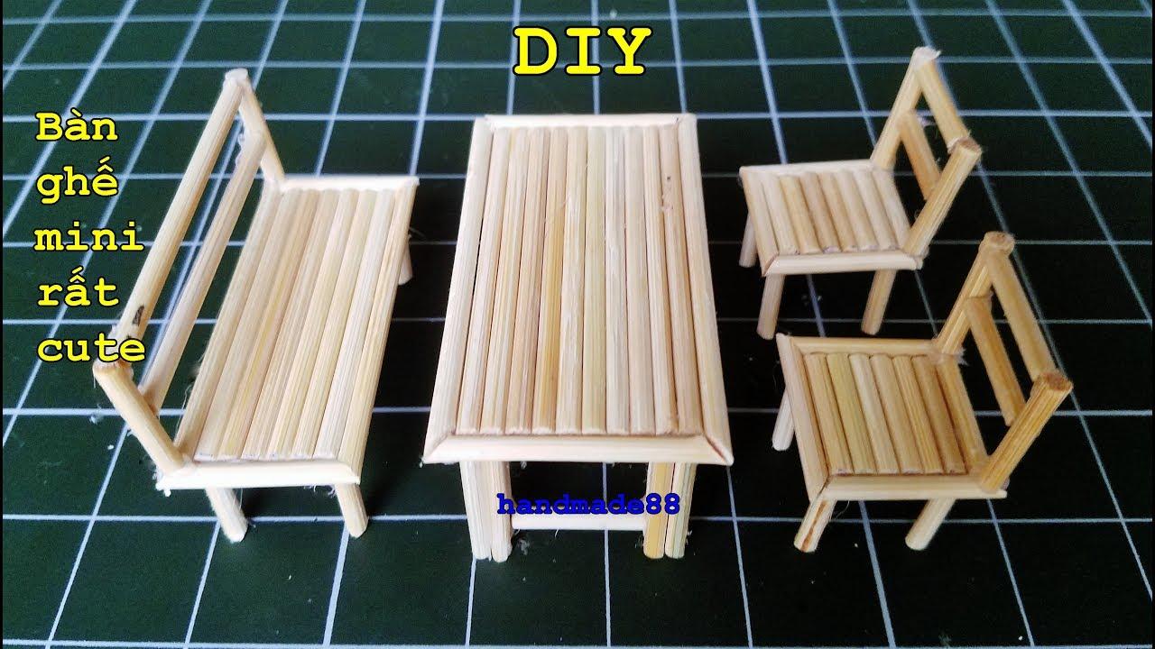 bộ bàn ghế bằng tăm tre cực cute