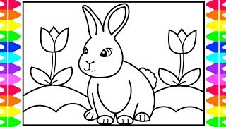 How to Draw a Rabbit for Kids 🐰🌈🌷Rabbit Realistic Drawing for Kids | Rabbit Coloring Pages Kids