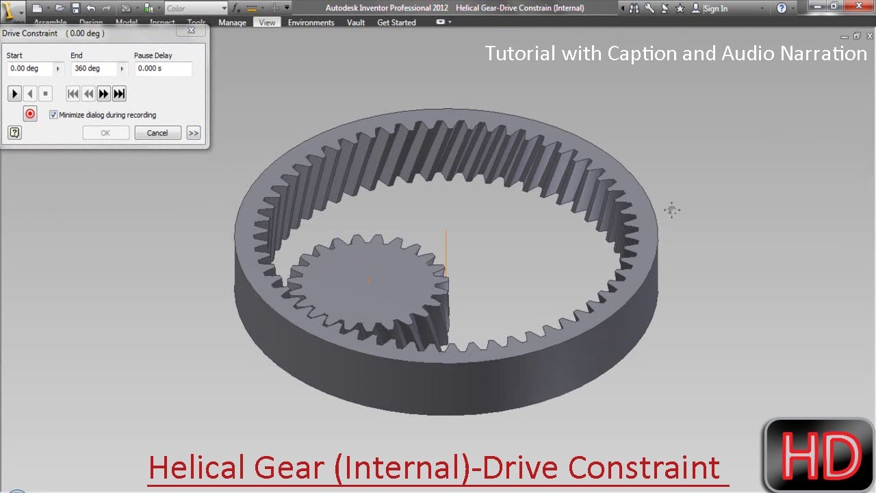 Helical Gear (Internal)-Drive Constrain-Autodesk Inventor (with caption and  audio narration)
