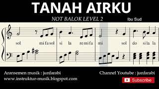 not piano tanah airku - notasi balok level 2 - lagu wajib nasional - do re mi / sol mi sa si