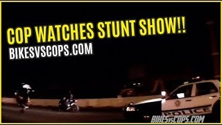 COP LIGHTS UP ROAD FOR STUNTER