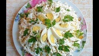 Салат НеВеСтА.  Рецепты вкусных слоеных салатов. Слоеный салат с курицей