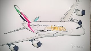 Emirates Airbus A380 (drawing timelapse)