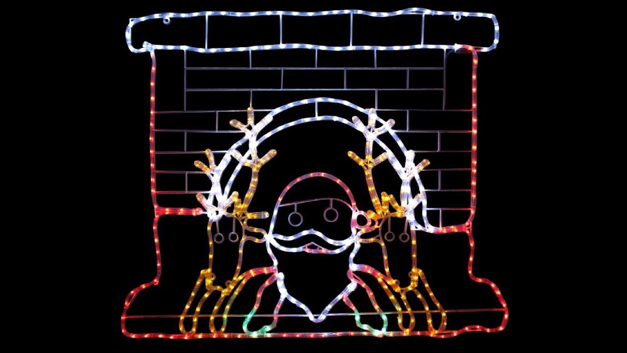 Santa reindeers in fireplace led rope light silhouette 12m youtube santa reindeers in fireplace led rope light silhouette 12m aloadofball Images