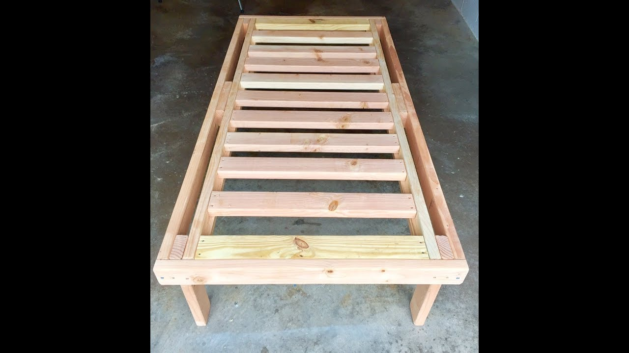 How To Build A Bed With 2x4 Lumber For 40 Youtube