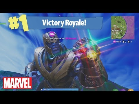 *NEW* FIRST EVER WIN AS THANOS IN FORTNITE!! - Marvel Infinity War Character Gameplay