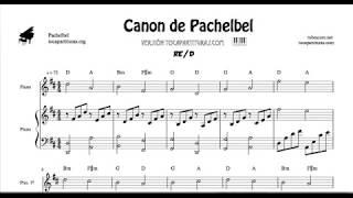 Canon de Pachelbel en Re Partitura de 2 Pianos Melodía y Acompañamiento Sheet Music for Two Pianos