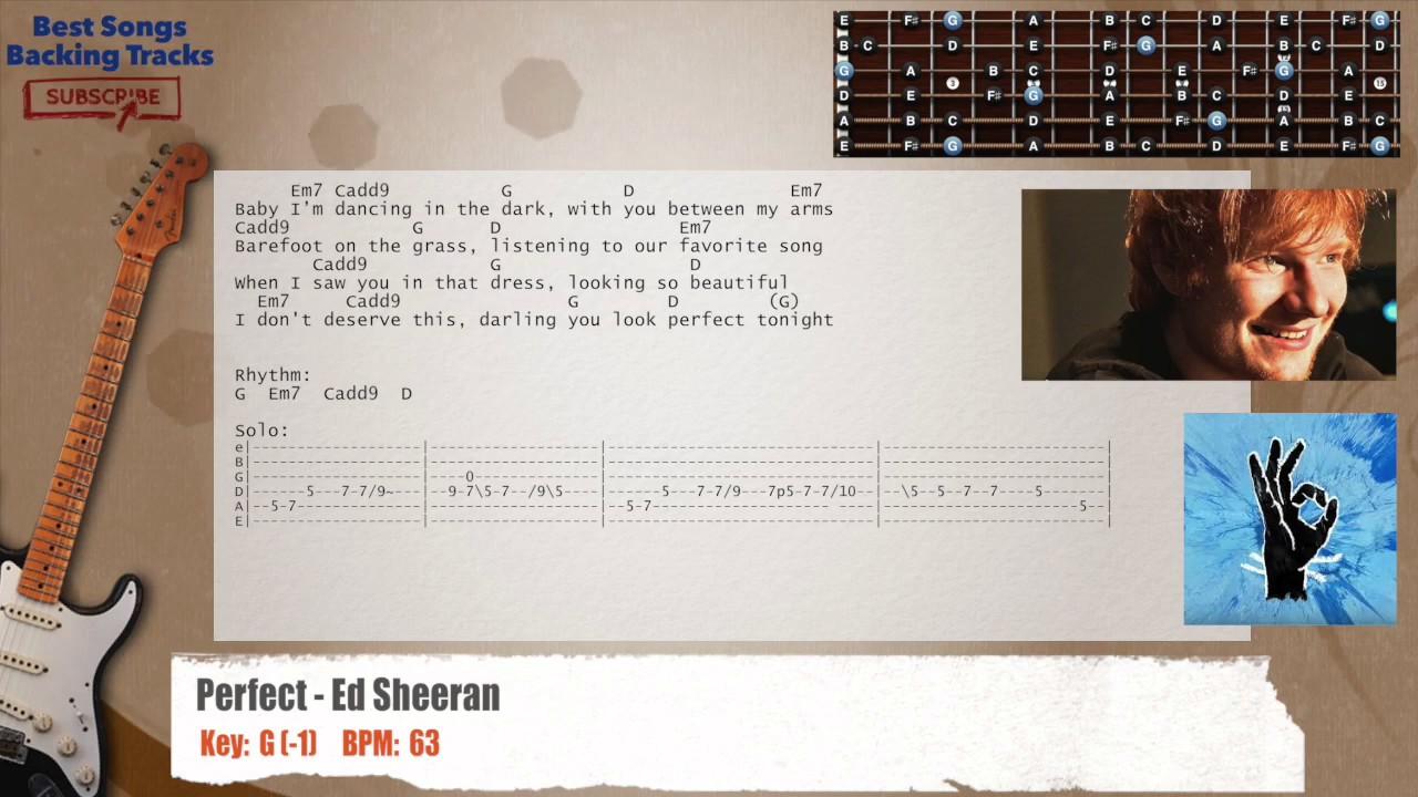 Perfect Ed Sheeran Guitar Backing Track With Chords And Lyrics
