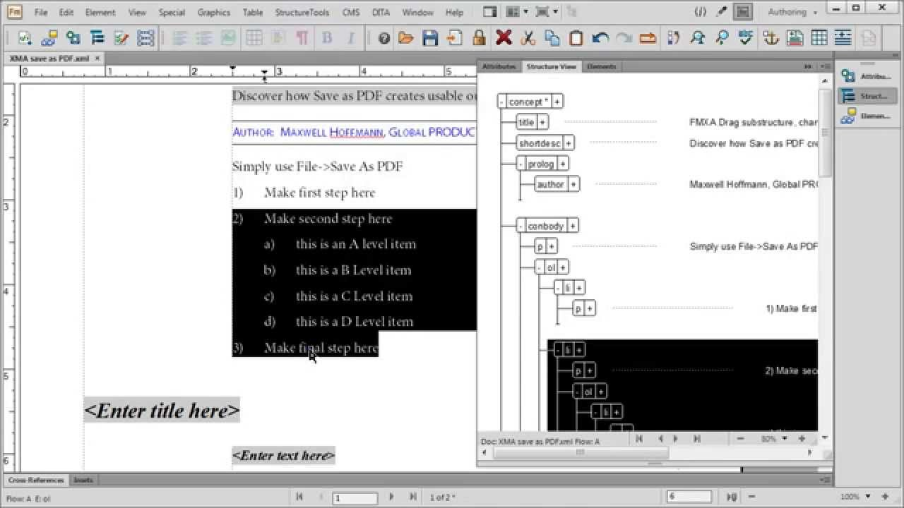 FrameMaker XML Author 12: Context-Sensitive Formatting - YouTube