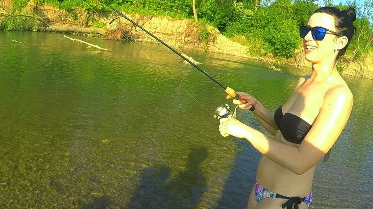 Прикол девушка первый раз на рыбалке