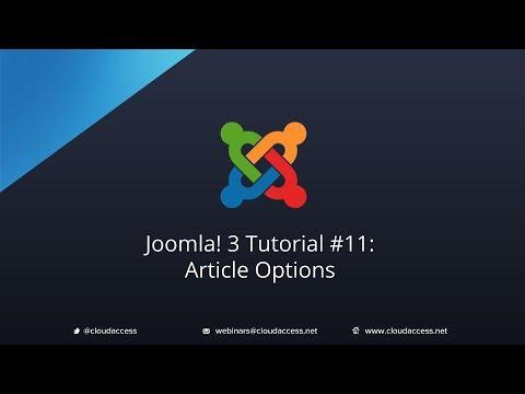 Joomla 3 Tutorial #11: Article Options