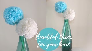 How To Make Tissue Paper Flower | DIY | Home Decor | Paper Craft