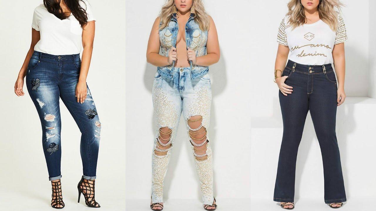 Moda 2016 2017 Outfits De Moda Con Pantalones De Mezclilla Moda Plus Size Youtube