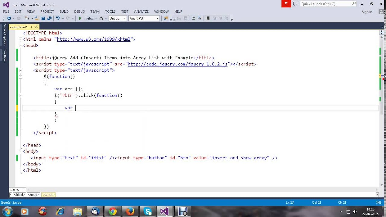 Jquery add insert items into array list with example youtube for Add th table jquery