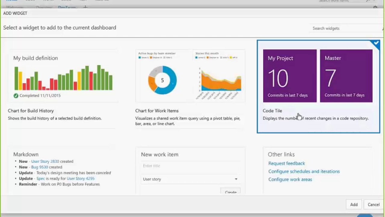 Team Foundation Server 2015 - Dashboard Capabilities
