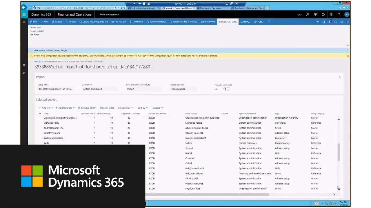 Task Automation Framework for Dynamics 365 for Finance and Operations
