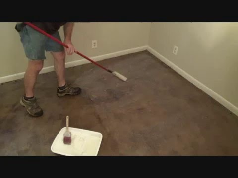 Sealing a floor with a paint roller