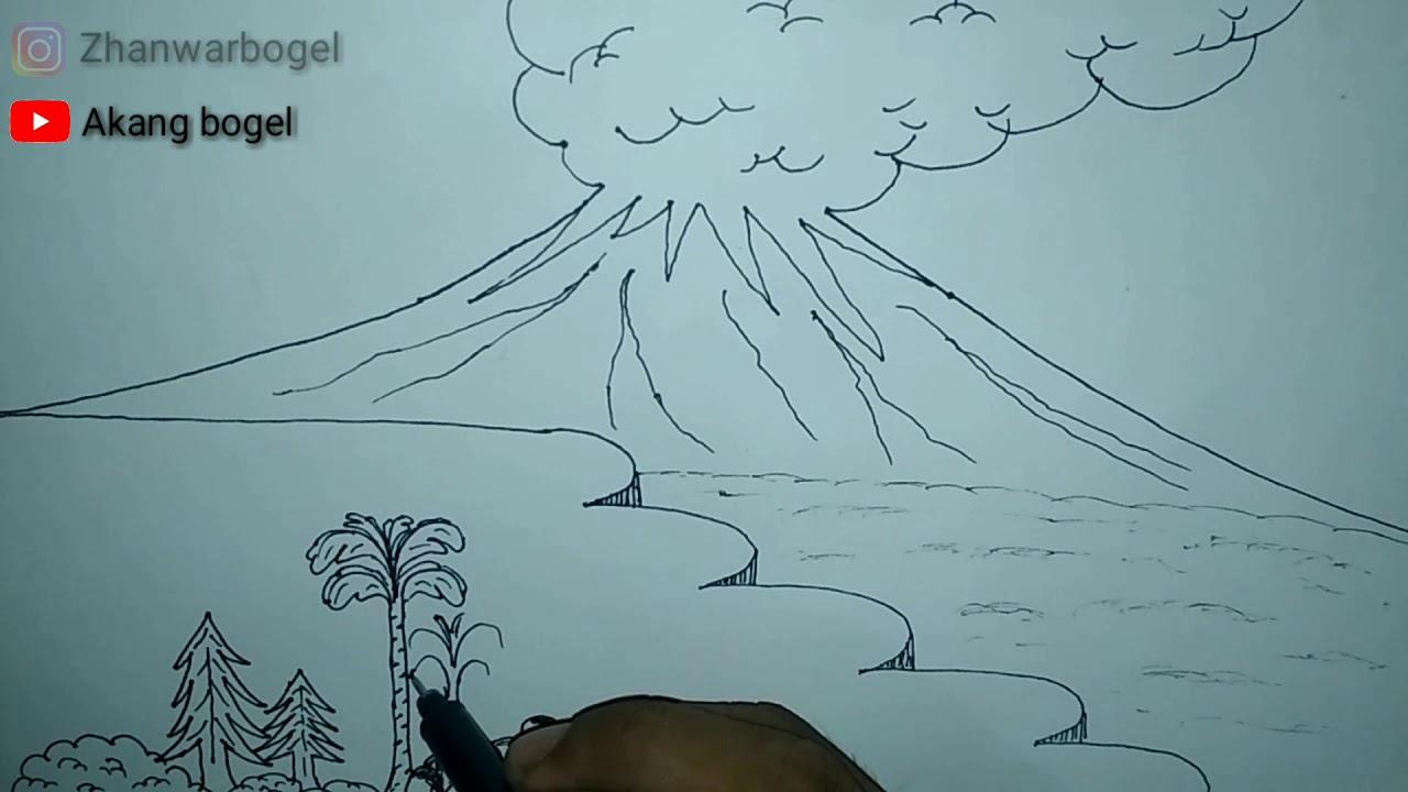 Cara menggambar gunung meletus - akang bogel - YouTube