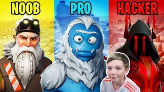 THAT'S A LOT OF DIFFERENCE!!! NOOB X PRO X HACKER-FORTNITE SEASON 7!!!