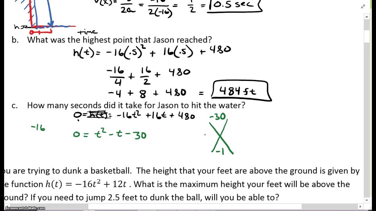 Algebra 2 Chapter 5 Word Problems Part 1